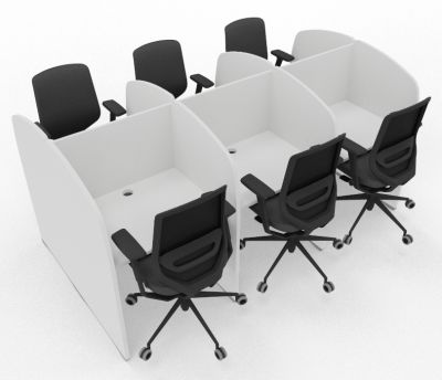Madison 6 Person Study Booth Full White