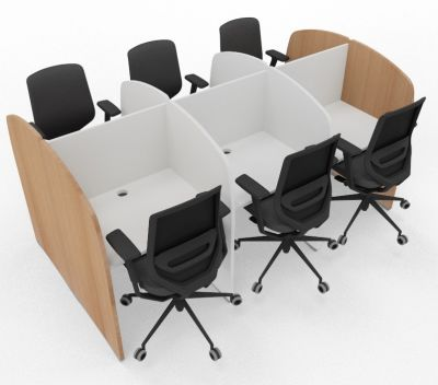 Madison 6 Person Study Booth White And Beech Sides