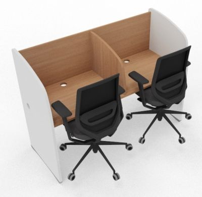 Madison 2 Person Study Booth Beech And White Sides