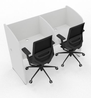 Madison 2 Person Study Booth Full White