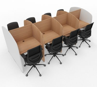 Madison 8 Person Study Booth Beech And White Sides
