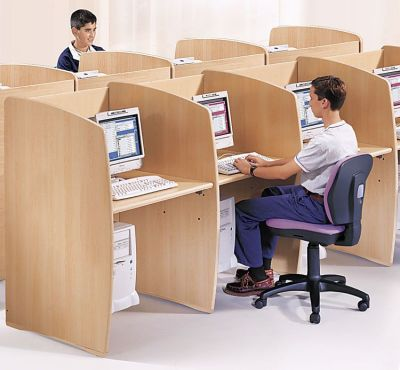 Madison Series Single Booth Beech Office View