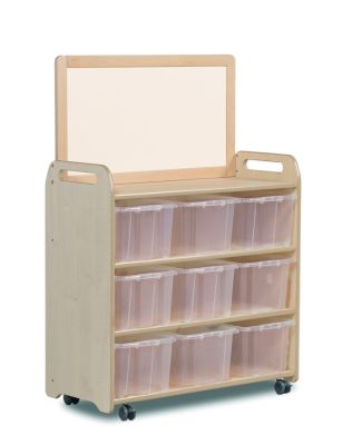 Kidre Mobile Storage With Whiteboard Add-On Unit With Clear Tubs