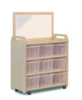 Kidre Mobile Storage With Mirror Add-On Unit With Clear Tubs