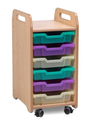 Kidre Tray Storage 6 Shallow Coloured Trays