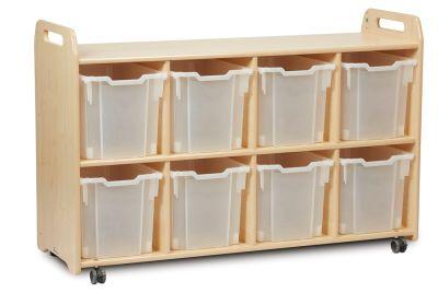 Kidre 4 Column Shelf Storage Clear Trays