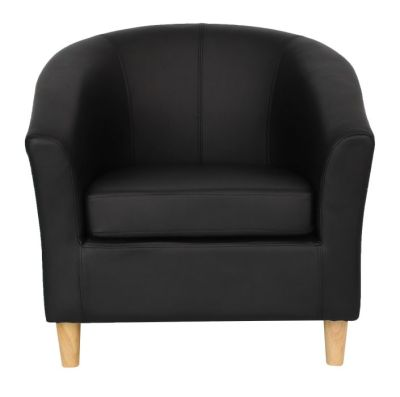 Voele Leather Tub Chair Black Front