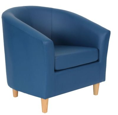 Voele Leather Tub Chair Blue Angle