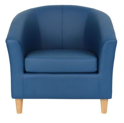 Voele Leather Tub Chair Blue Front