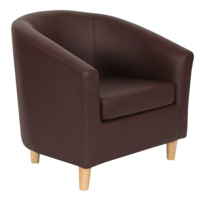 Voele Leather Tub Chair Brown Angle