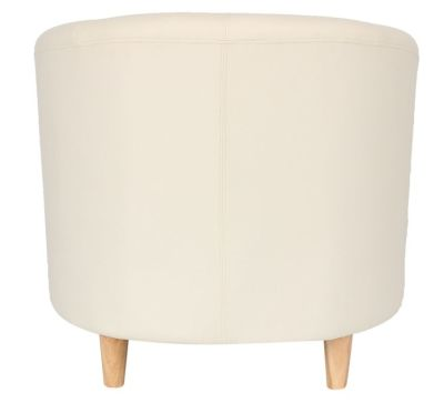 Voele Leather Tub Chair Cream Back