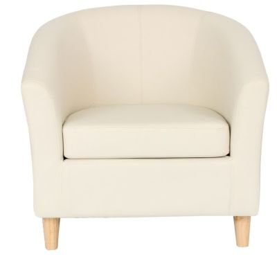 Voele Leather Tub Chair Cream Front