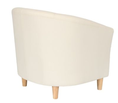 Voele Leather Tub Chair Cream Rear
