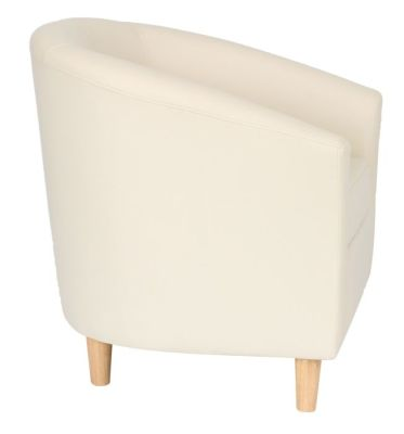 Voele Leather Tub Chair Cream Side
