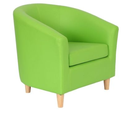 Voele Leather Tub Chair Green Angle