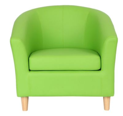 Voele Leather Tub Chair Green Front