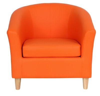 Voele Leather Tub Chair Orange