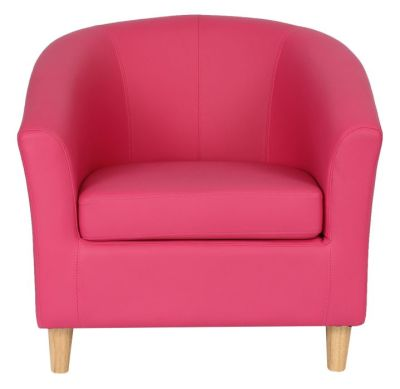 Voele Leather Tub Chair Pink Front