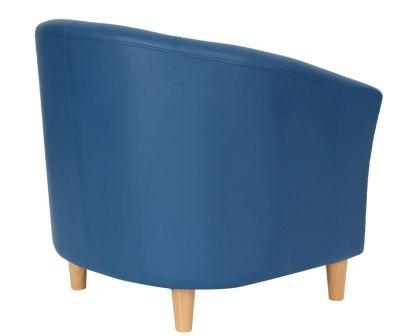 Voele Leather Tub Chair Blue Rear