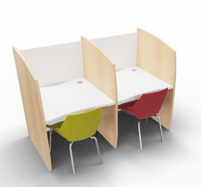 Madison Study Booth 2 Person Beech