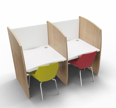 Madison Study Booth 2 Person Birch