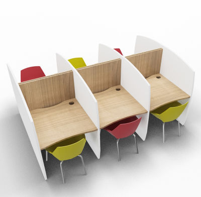 Madison 6 Person Study Booth Birch And White Sides