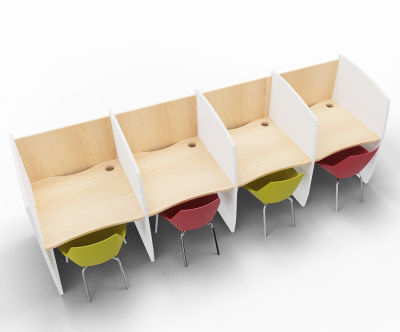 Madison 4 Person Study Booth Beech And White Sides
