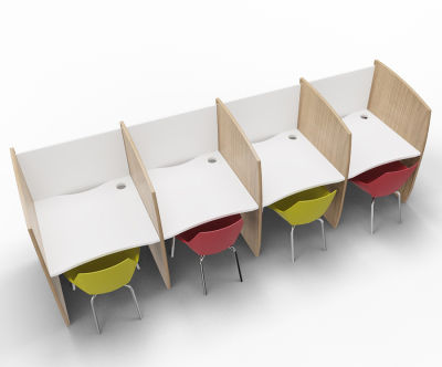 Madison 4 Person Study Booth Birch And White Sides
