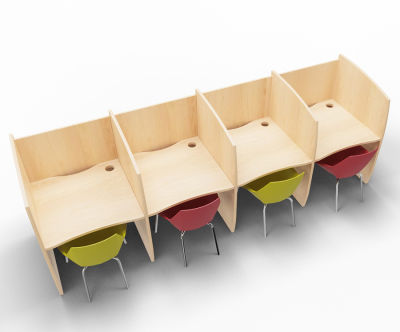 Madison 4 Person Study Booth Full Beech