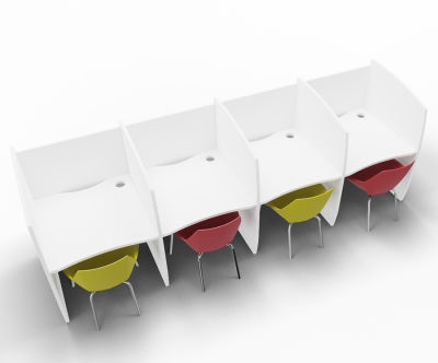 Madison 4 Person Study Booth Full White