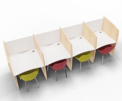 Madison 4 Person Study Booth White And Beech Sides
