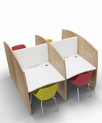 Madison Study Booth 4 Person Birch White