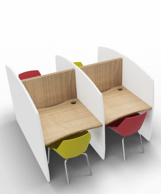 Madison Study Booth 4 Person Birch
