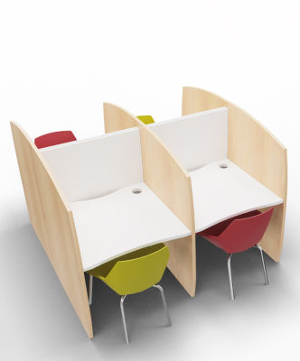 Madison Study Booth 4 Person Beech