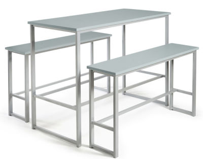 Hermes Bar Height Bench Set Grey