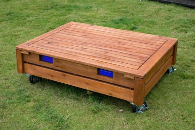 Ares Outdoor Sandbox On Castors With Lid View