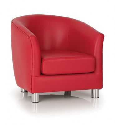 PROTIUM FAUX LEATHER TUB CHAIRS RED