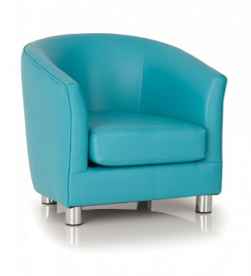 PROTIUM FAUX LEATHER TUB CHAIRS LIGHT BLUE