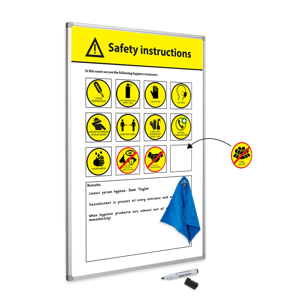 An image of Prota COVID-19 Safety Information Whiteboard - Whiteboards