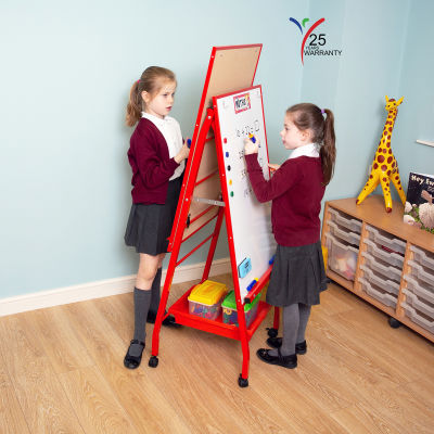Fully Height Adjustable Mobile Easel Red 1