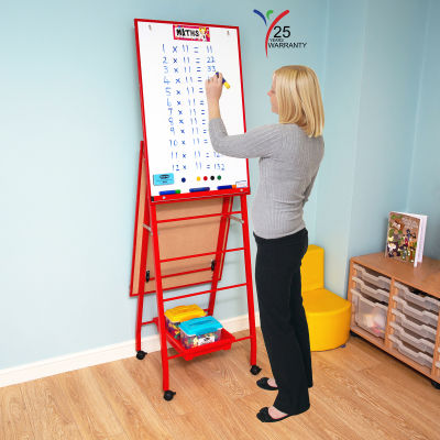 Fully Height Adjustable Mobile Easel Red 2