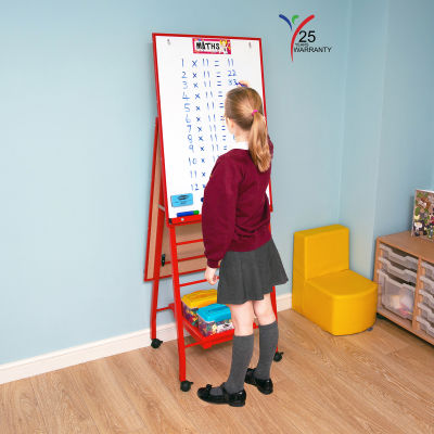 Fully Height Adjustable Mobile Easel Red 3