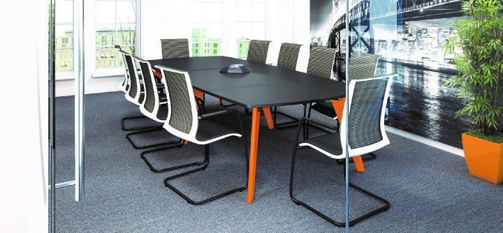 Boat Shaped Table Black with Orange Legs