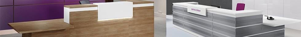 Majesto Metal or MFC Clad Reception Desks for sale