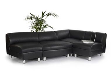 Corsica Black Faux Leather Designer Sofas