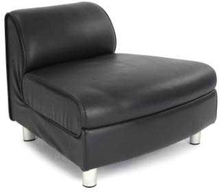 Linto Black Faux Leather Reception Seating