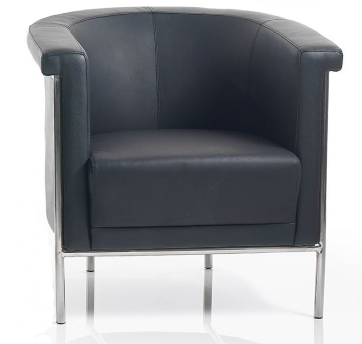 Black Leather Tub Chair With A Chrome Frame Curvex Office Reality - Tub chairs leather