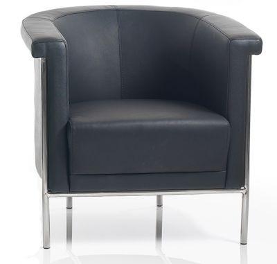 Curvex Black Leather Tub Chairs
