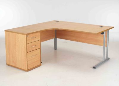 Beech Corner Desk And Pedestal