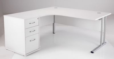 White Corner Desk And Drawers